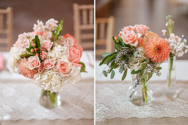 bouquets with light pink and white | photo: Photos by Kristopher | via https://emmalinebride.com