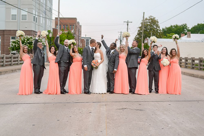the entire wedding party | photo: Photos by Kristopher | via https://emmalinebride.com