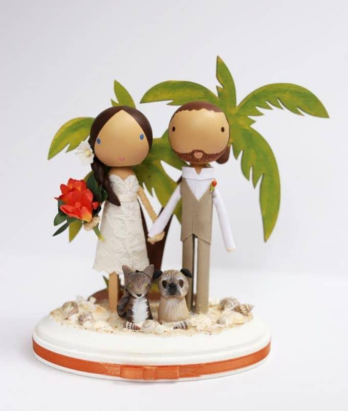 adorable handmade wedding cake topper