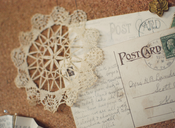 postcards and doily
