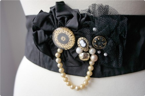 gown sash with pearls and cameo button