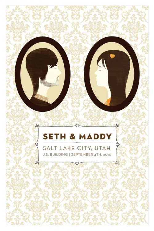 silhouette wedding save the date
