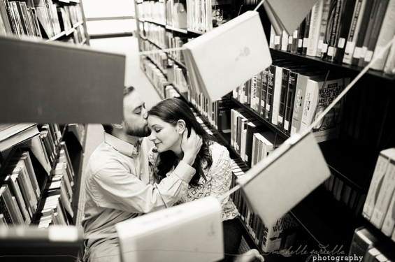library book engagement shoot