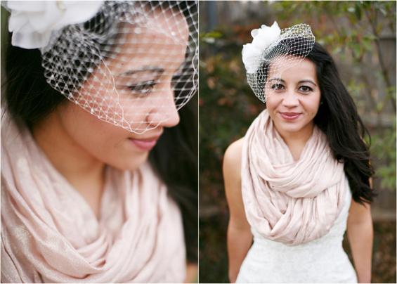 bride with birdcage veil pashmina
