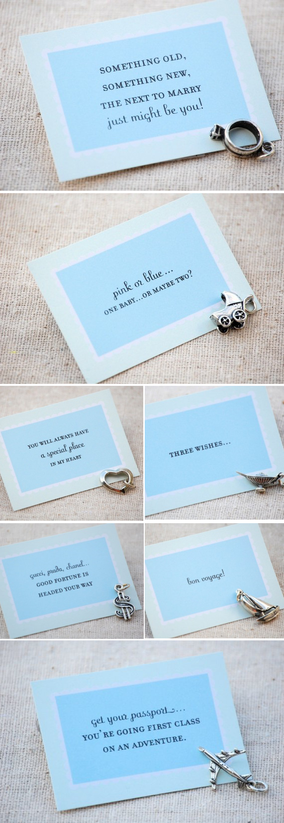 bridesmaid cake charms with fortune cards
