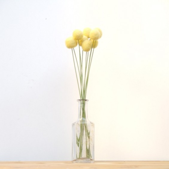 yellow billy button bouquet