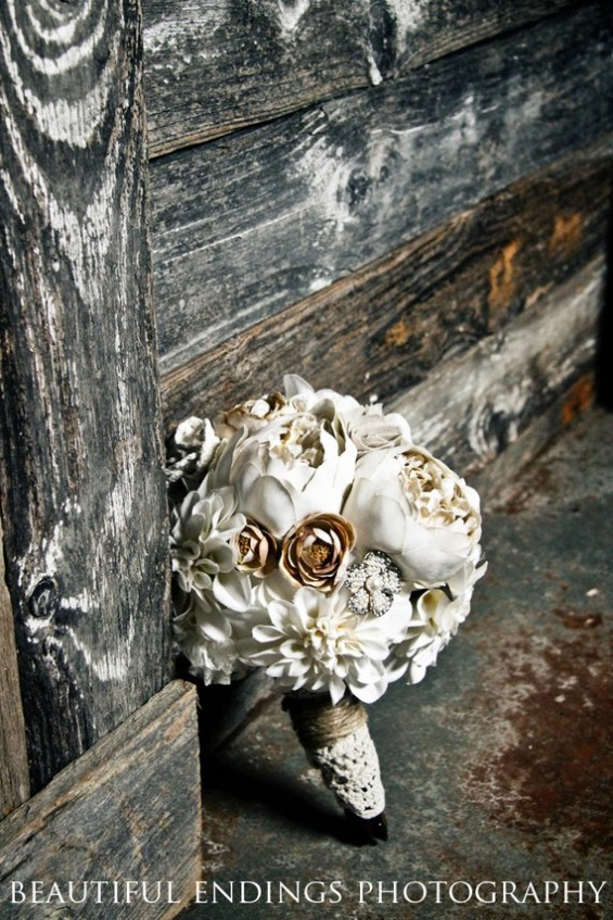 vintage bridal bouquet with lace peonies dahlias rhinestones