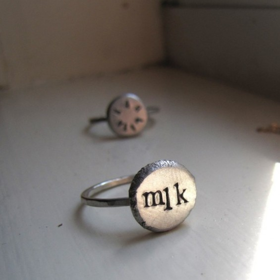 handmade wedding silver initial ring