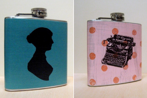jane austen cameo flask typewriter flask