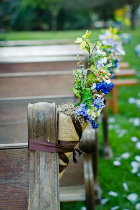 burlap cones wedding ceremony decor