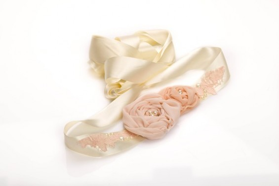 pink rosette dress sash for weddings