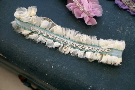 ivory bridal garter with something blue