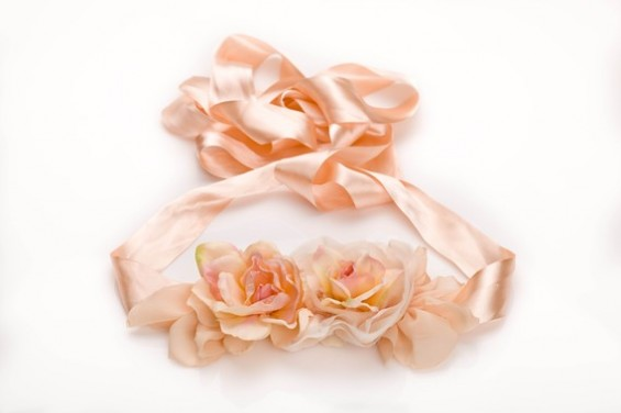 pink bridal sash with flowers