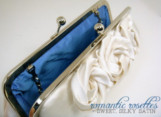 ivory silk clutch with handmade roses