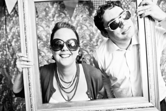 bride and groom photo booth
