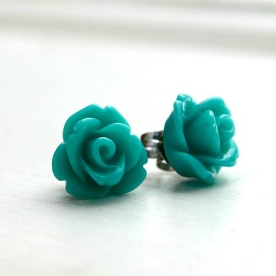 green rose bud bridesmaid earrings