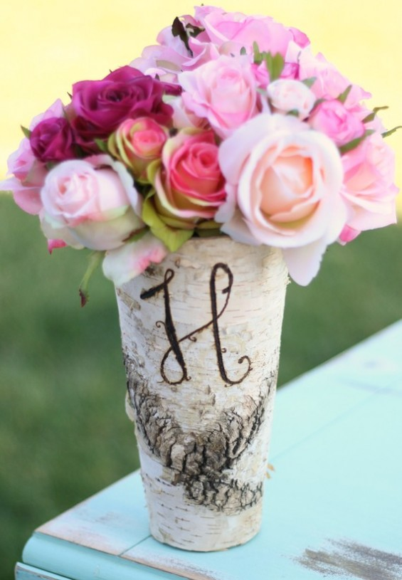 birch bark vase with monogram