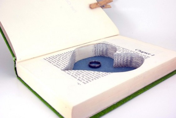 hollow book safe with heart and ring