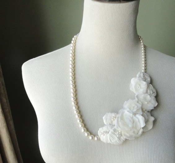 bridal statement necklace with pearls by flora bond