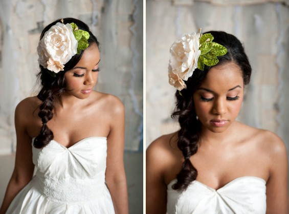 hair flower with green leaves and large peony by tessa kim
