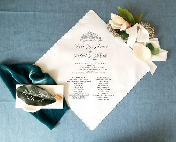 handkerchief wedding invitations and programs