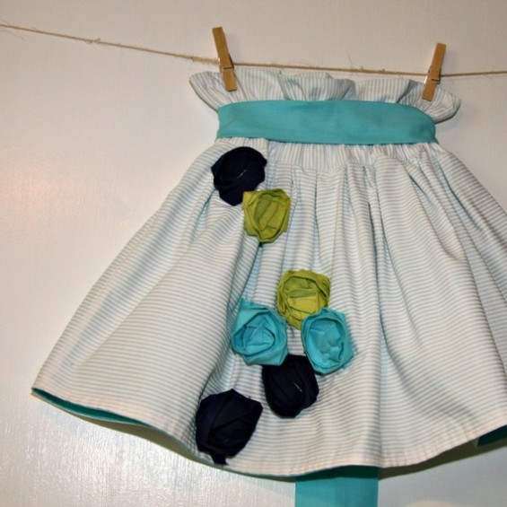 flower girl skirt with rosettes