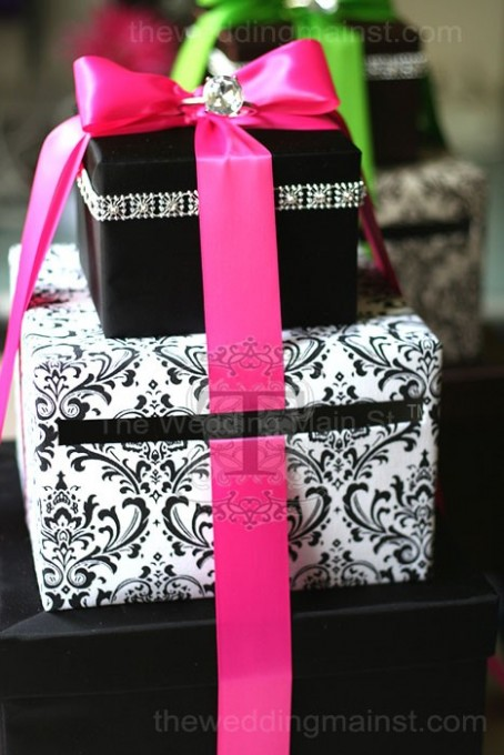 wedding card boxes with hot pink and black damask print