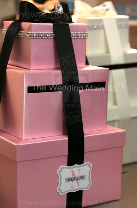 pink wedding card boxes