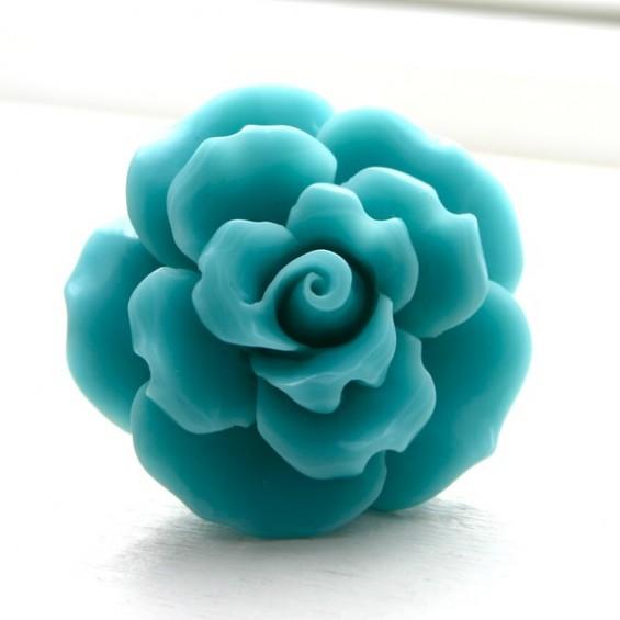 large aqua flower ring