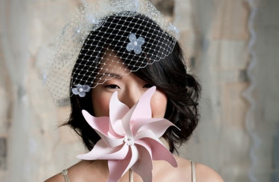 birdcage bridal veil with flowers
