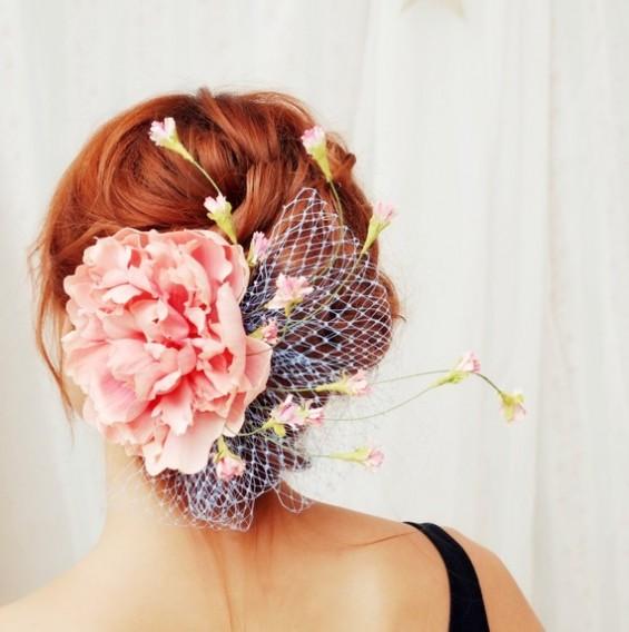 pink peony hair fascinator