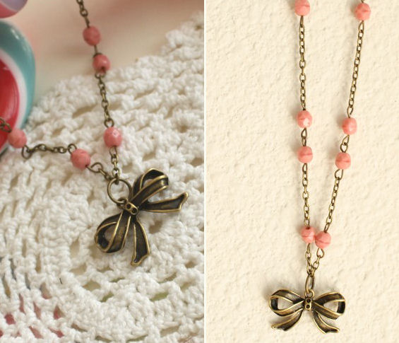 bow necklace with pink beads inspired by marie antoinette