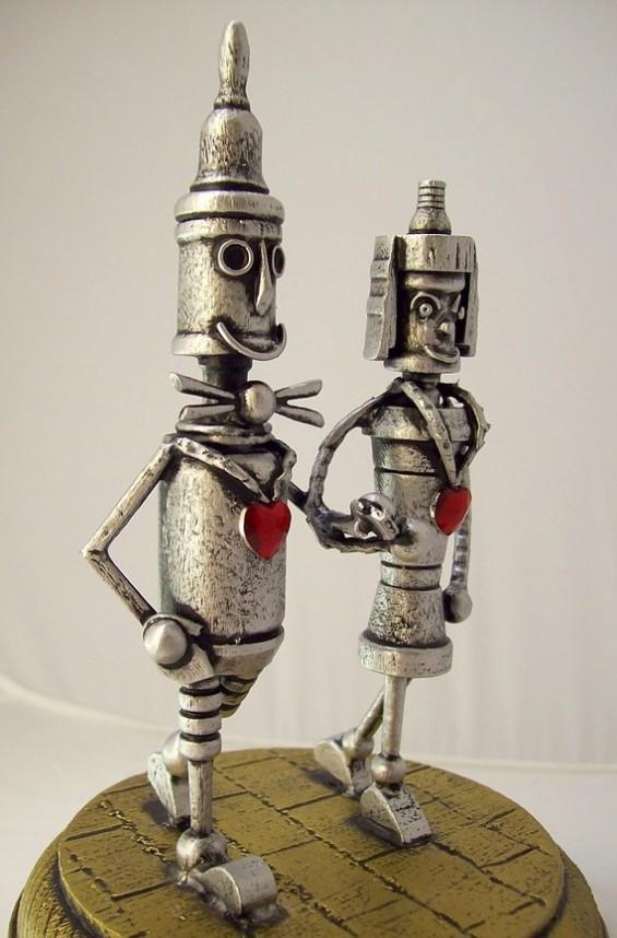 tin man robot cake toppers