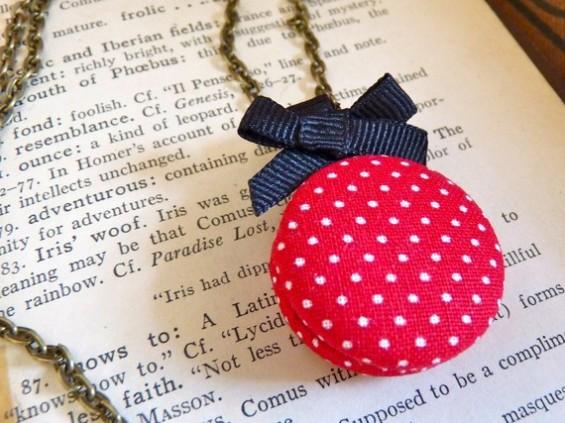 bridesmaid locket with red polka-dots