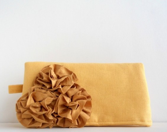 yellow clutch purses for bridesmaids with rosettes on front