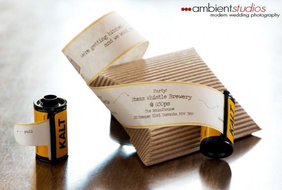 film roll wedding invitation
