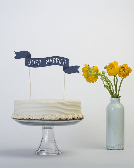 handmade cake topper just married banner