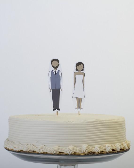 handmade cake topper bride and groom