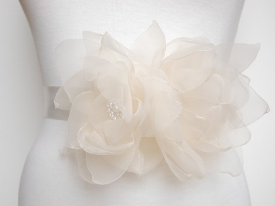 ivory dress sashes