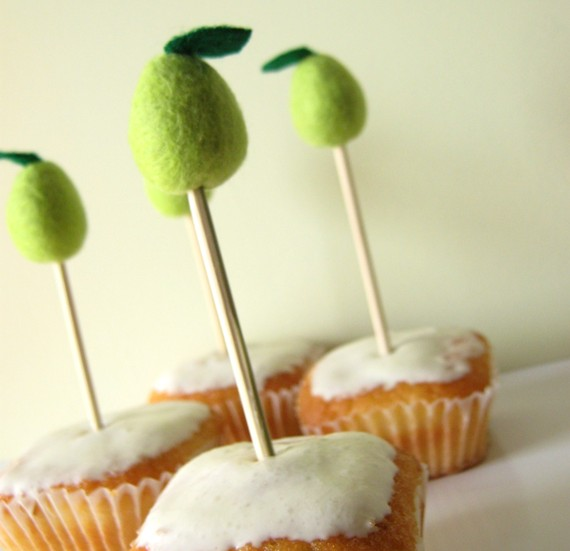 pear wedding cupcake toppers - 3