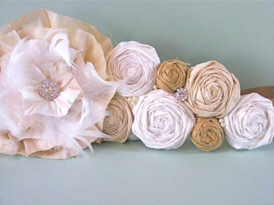 dress sash with rosettes
