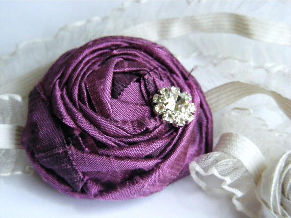 bridesmaid garters in purple