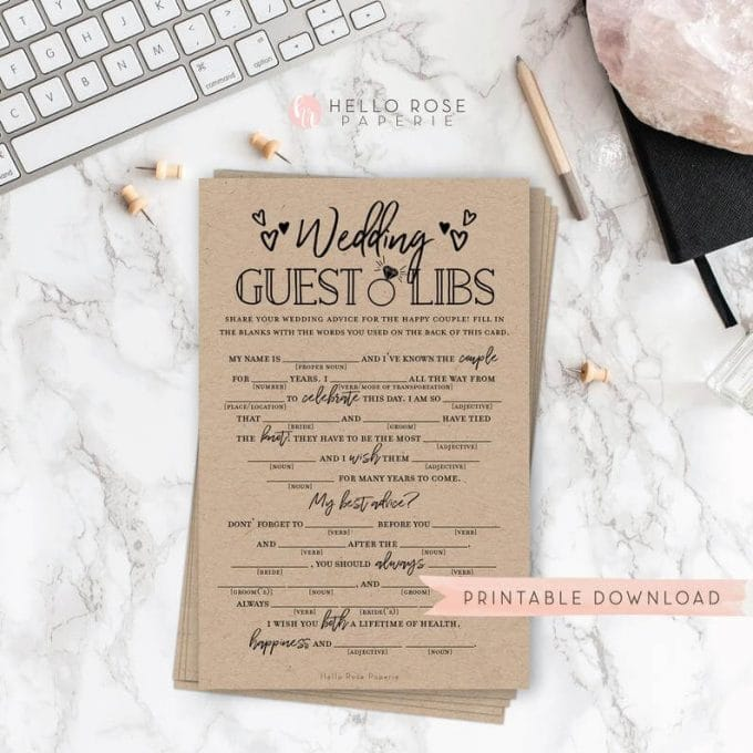 wedding mad libs