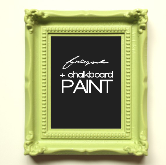 ornate green frame and chalkboard paint to hang onto rustic card box