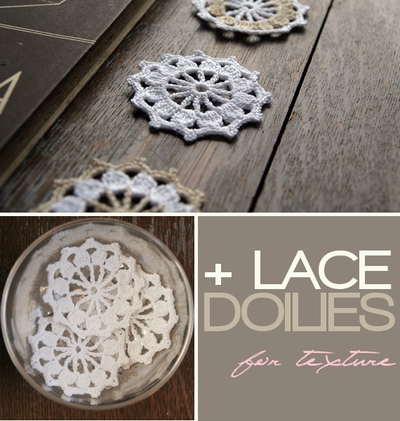 lace crochet doilies for rustic card box