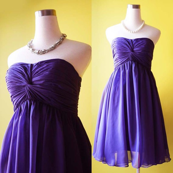 handmade bridesmaid dresses - purple dress strapless