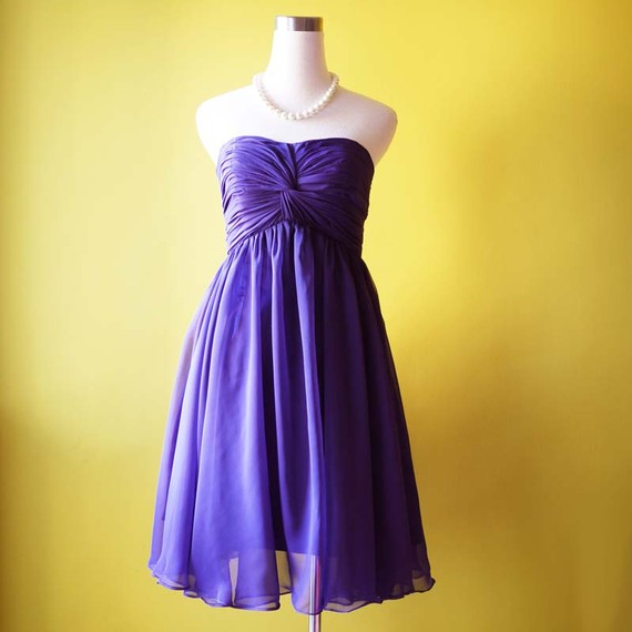 handmade bridesmaid dresses - purple chiffon dress
