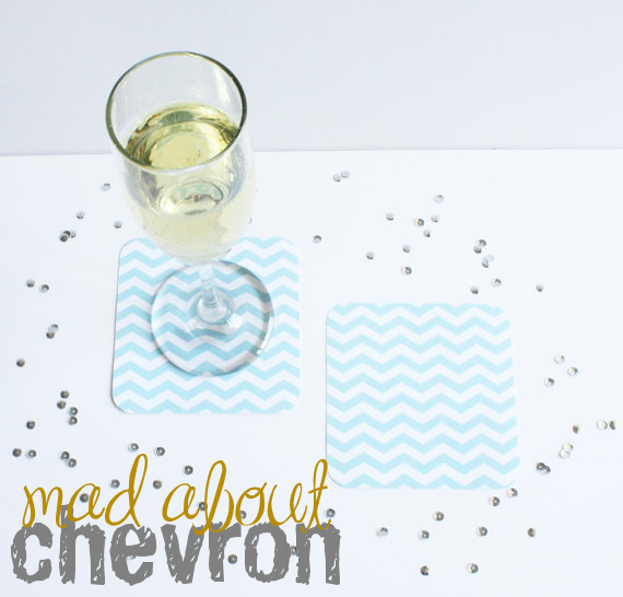 chevron wedding coasters