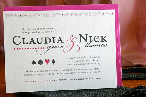 queen of hearts wedding invitation
