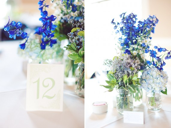 mason jar centerpiece with blue